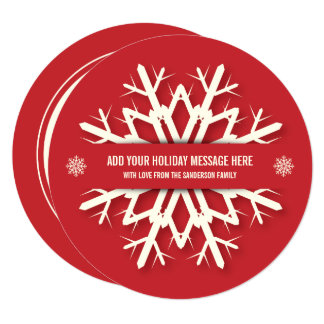 Simple Red Snowflake Christmas Photo Card | Round