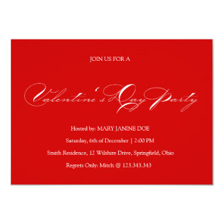 Simple Red Valentine's Day Party Invitation