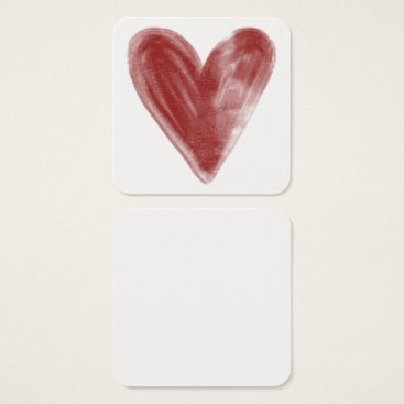 Professional Business Simple, Red, Watercolor Heart on Personal Notes Square Business Card