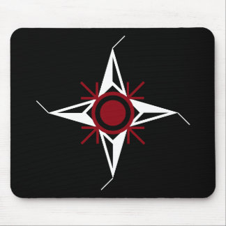 Simple Red White North Star On Black Background Mouse Pad