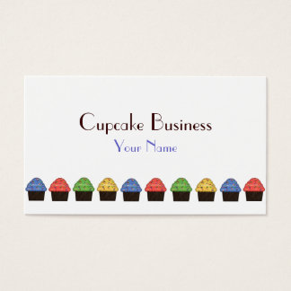 Simple red yellow green blue cupcake business card