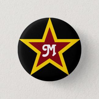 Simple Red & Yellow Star Custom Monogram on Black Pinback Button