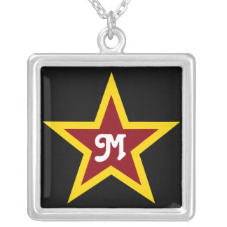 Simple Red & Yellow Star Custom Monogram on Black Silver Plated Necklace