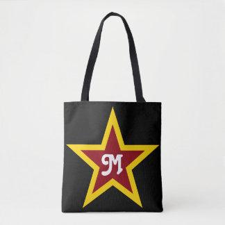 Simple Red & Yellow Star Custom Monogram on Black Tote Bag