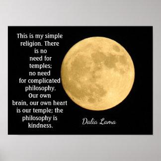 Simple Religion - Dalai Lama quote - art print