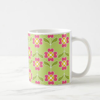Simple Retro Floral Pattern Pink Flowers On Lime Coffee Mug