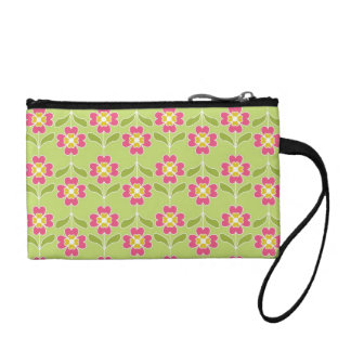 Simple Retro Floral Pattern Pink Flowers On Lime Coin Purse