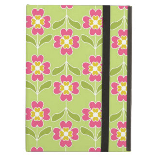 Simple Retro Floral Pattern Pink Flowers On Lime iPad Folio Case