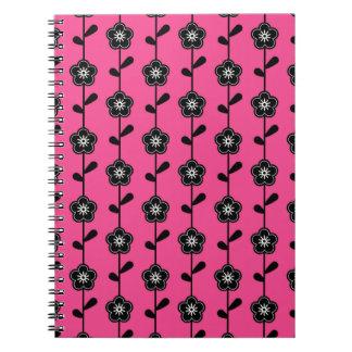 Simple Retro Flower Pattern Notebooks