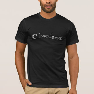 Simple Retro Font Black and White Cleveland T-Shirt