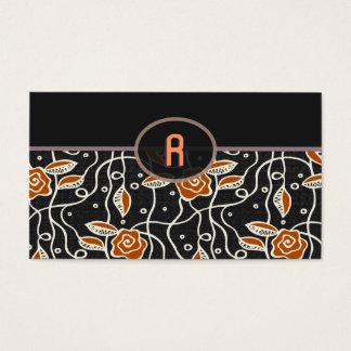 Simple Retro Pattern- Black & Orange Business Card