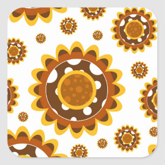 Simple Retro Sunflower Pattern Sticker