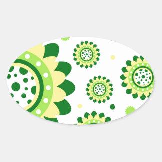 Simple Retro Sunflower Pattern Oval Stickers