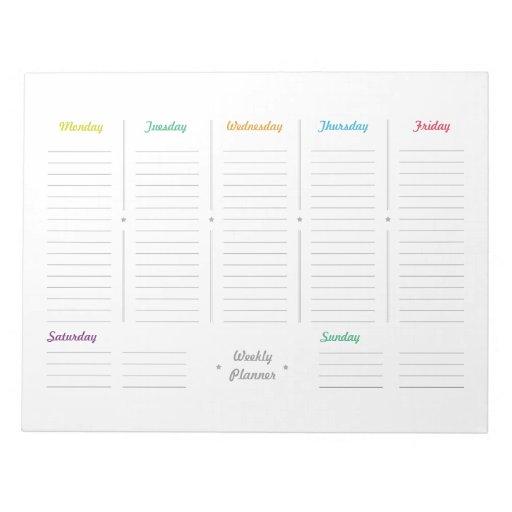 Simple Retro Weekly Planner Notepads