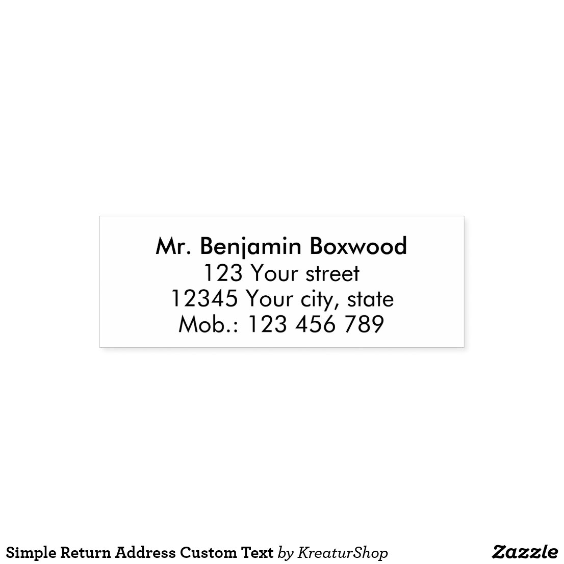 Simple Return Address Custom Text