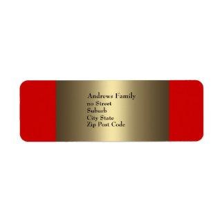 Simple rojo y de bronce de la etiqueta etiqueta de remitente