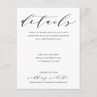 Simple Romance Calligraphy Wedding Details Card