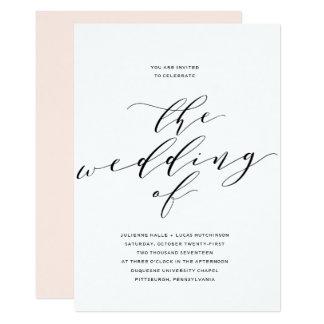 Simple Romance Calligraphy Wedding Invitation