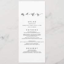 Simple Romance Calligraphy Wedding Menu