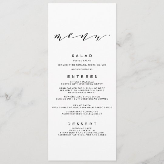 Simple Wedding Reception Food: Simple Romance Calligraphy Wedding Menu