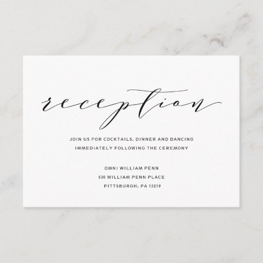 Simple Romance Calligraphy Wedding Reception Card Zazzle