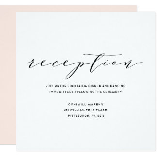 Simple Romance Calligraphy Wedding Reception Card