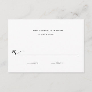 Simple Romance Calligraphy Wedding Reply RSVP Card