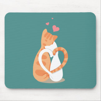 Simple Romantic Cats In Love | Mousepad