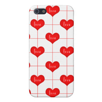 Simple Romantic Red Love Hearts Pattern Cover For iPhone SE/5/5s