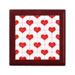Simple Romantic Red Love Hearts Pattern Jewelry Boxes