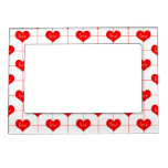 Simple Romantic Red Love Hearts Pattern Frame Magnet