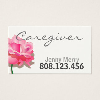 Simple Rose Caregiver Business Card template