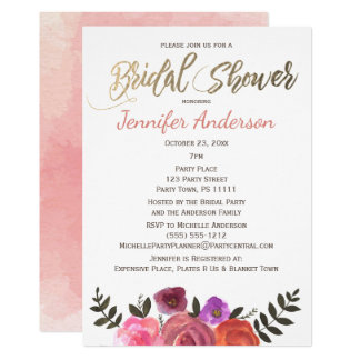 Simple Rose Gold Floral Watercolor Bridal Shower Card