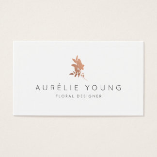 Simple Rose Gold Flower Bouquet Floral Designer Business Card