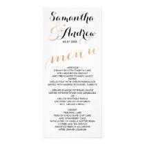 Simple rose gold foil chic wedding menu