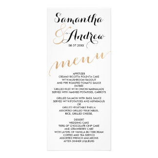 Simple rose gold foil chic wedding menu