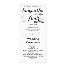 Simple rose gold foil chic Wedding Program