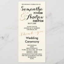Simple rose gold foil chic Wedding Program ivory