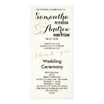 Simple rose gold foil chic Wedding Program ivory