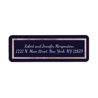 Simple Rose Gold Lined Navy Blue Address Labels