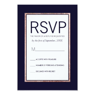 Simple Rose Gold Lined Navy Blue RSVP Cards