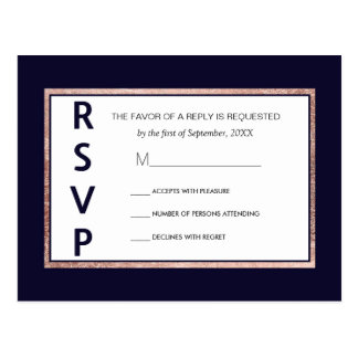 Simple Rose Gold Lined Navy Blue RSVP Postcards