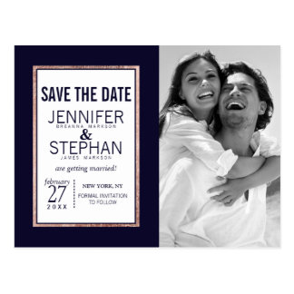 Simple Rose Gold Lined Navy Blue Save the Dates Postcard