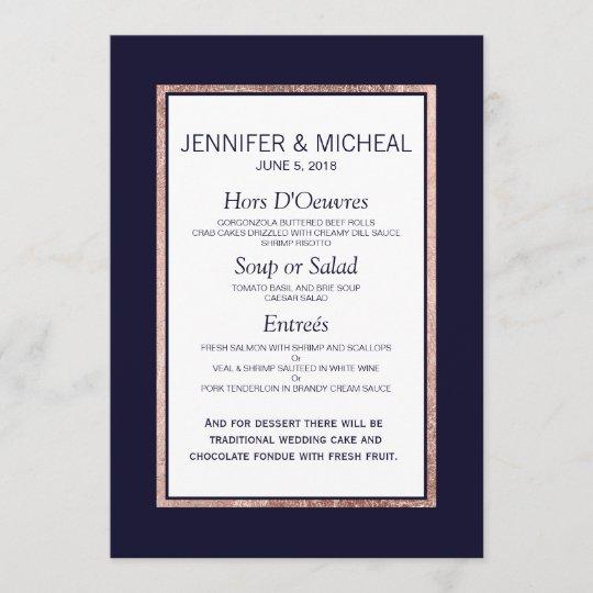 Simple Rose Gold Lined Navy Blue Wedding Menu Zazzle