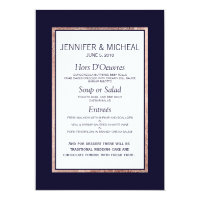 Simple Rose Gold Lined Navy Blue Wedding Menu Card