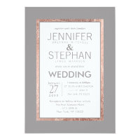 Simple Rose Gold Lined Slate Gray Wedding Invitation