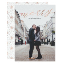 Simple Rose Gold Merry Christmas Photo Cards