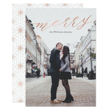 Christmas Themed Simple Rose Gold Merry Christmas Photo Cards