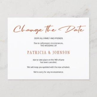 Simple rose gold script wedding change the date announcement postcard