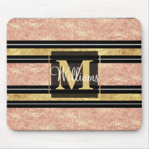 Simple rose gold stripes pattern mouse pad